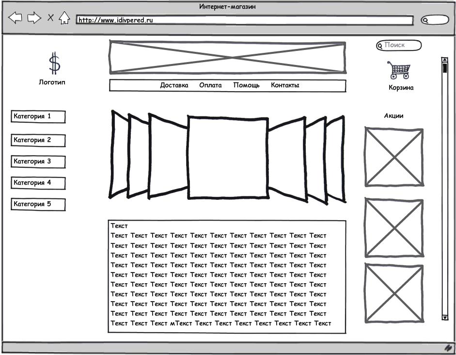 прототип страницы каталога интернет магазина